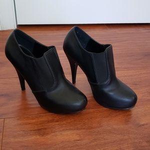 Black slip-on booties